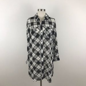 Tribal Tunic Small Black White Plaid Sheer Button